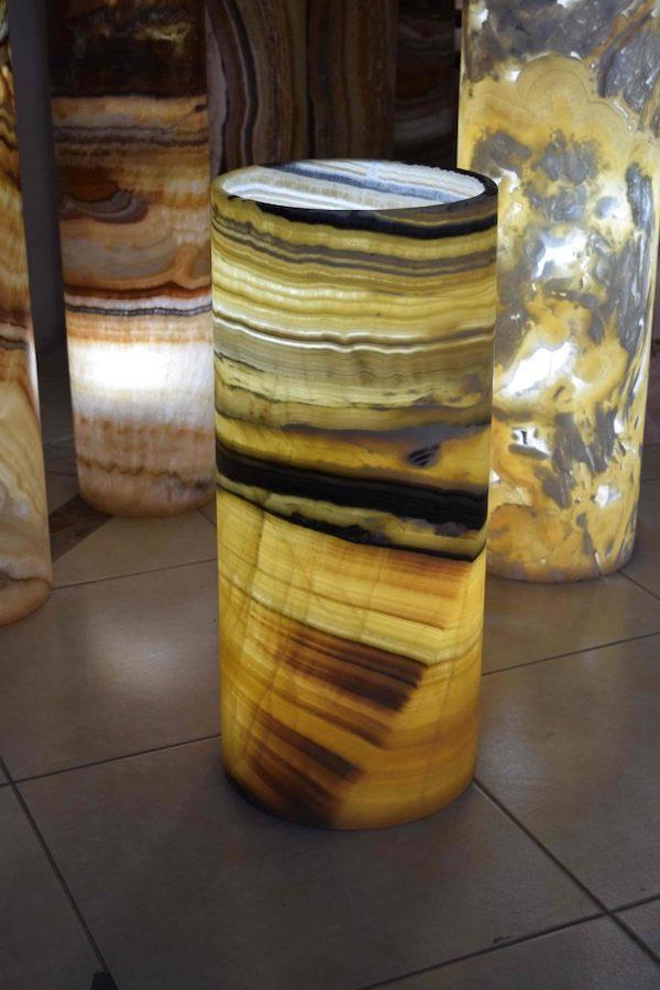 Onyx Marble Cylindrical Floor Lamp 70 Cm X 25 Cm Galactea