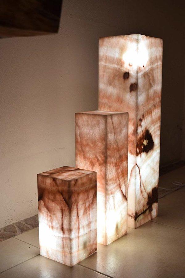 Onyx Marble Rectangular Floor Lamp 80 Cm X 20 Cm X 20 Cm Rosa